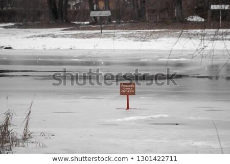 Ince buz imzalamak gölet kapalı katman Stok fotoğraf © Habman_18