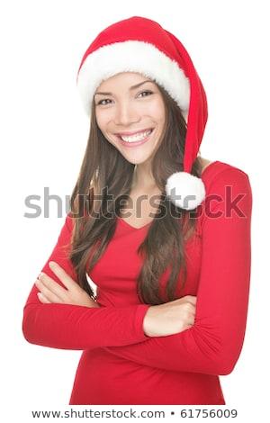 アジア · 若い女性 · 着用 · サンタクロース · 帽子 · 見える - ストックフォト © bmonteny