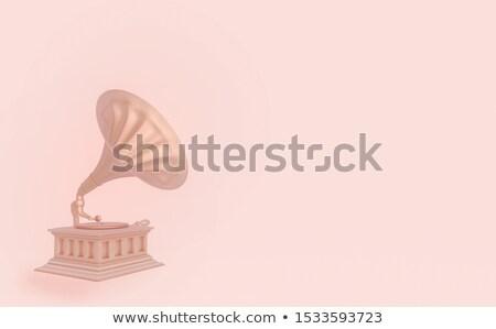 Gramofon 3d render bir eski ahşap masa kahverengi Stok fotoğraf © Elenarts