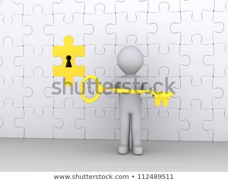 3d Man Holding Key To Success Illustration Photo stock © 6kor3dos