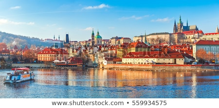 View of the Old Town in Prague from Vltava river bank Stock photo © CaptureLight
