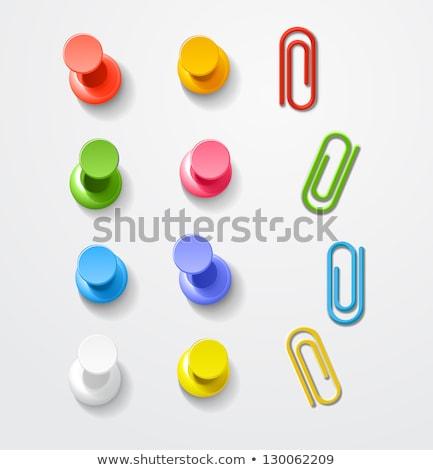 скрепку синий вектора икона кнопки веб Сток-фото © rizwanali3d