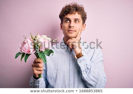 Portret peinzend man krulhaar gezicht Stockfoto © deandrobot