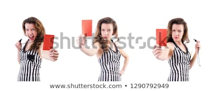 Female Referee Holding Football In Hand Stock photo © AndreyPopov