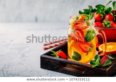 üveg · üveg · ásványvíz · cseppek · egészség · jég - stock fotó © ozaiachin
