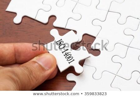 Garantizar rompecabezas lugar que falta piezas texto Foto stock © tashatuvango
