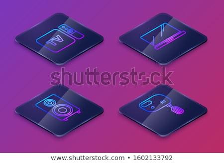 Multimedia vierkante vector Blauw icon ontwerp Stockfoto © rizwanali3d