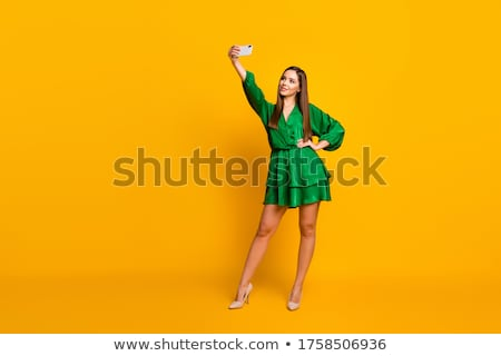 young girl making selfie photo stock photo © deandrobot