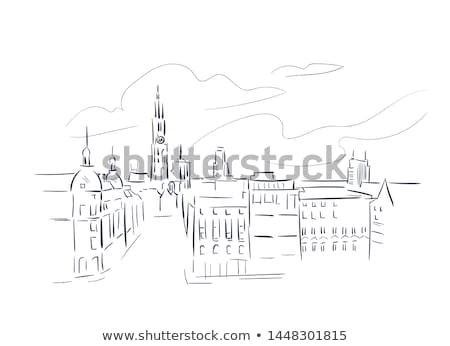 Watercolor art print of the skyline of Antwerp in Belgium Stock photo © chris2766