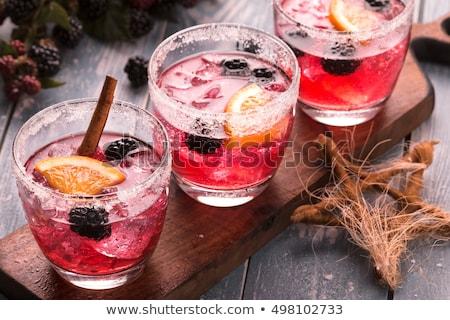 Cocktail Bramble on black board Stock photo © netkov1