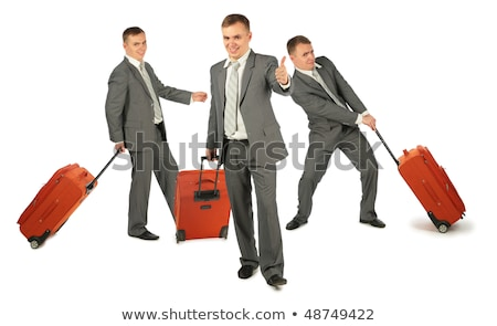 Three businessmen with luggage on white background, collage Stock photo © Paha_L