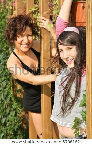Anya lánygyermek park fából készült nyaláb lány Stock fotó © Paha_L