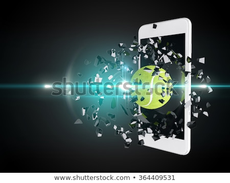 tennis ball burst out of the smartphone Stock photo © teerawit
