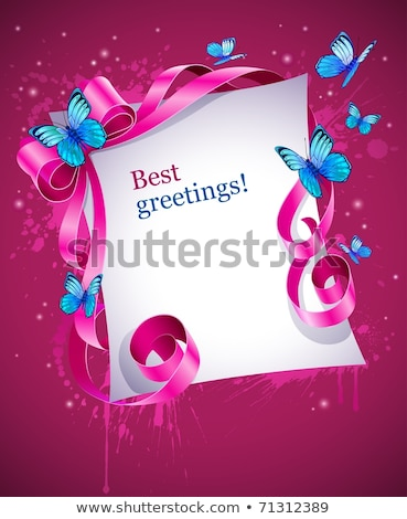 greeting card with pink bow and blue butterfly stock photo © loopall