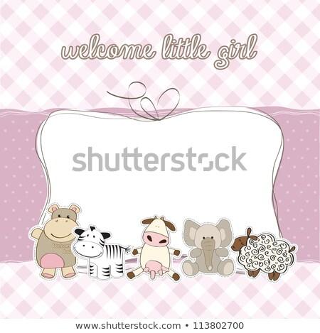 Delicate baby shower card with purple sheep Stock photo © balasoiu