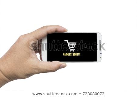 Geschäftsmann halten Karte Gesellschaft Titel Förderung Stock foto © stevanovicigor