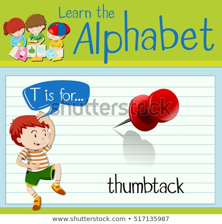 Flashcard letter T is for thumbtack Stock photo © bluering