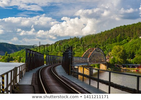single track railway bridge over the vltava river stock photo © capturelight