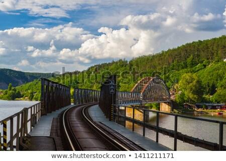 Seguir ferrovia ponte rio República Checa hdr Foto stock © CaptureLight