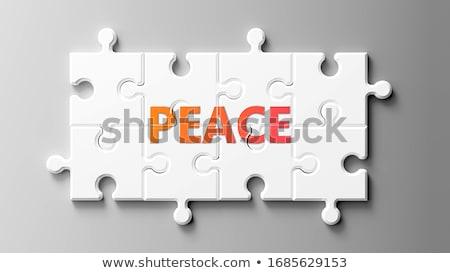 Puzzle Wort Frieden Puzzleteile Bau Spielzeug Stock foto © fuzzbones0
