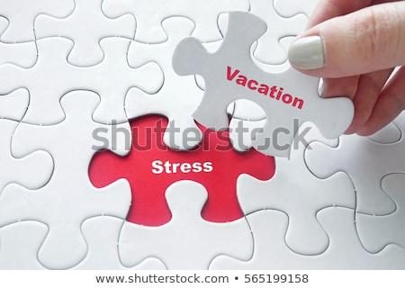 Rompecabezas palabra estrés piezas del rompecabezas construcción ayudar Foto stock © fuzzbones0
