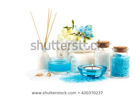 Stock fotó: Fürdő · egészségügy · kézzel · készített · olívaolaj · törölközők · fa · deszka