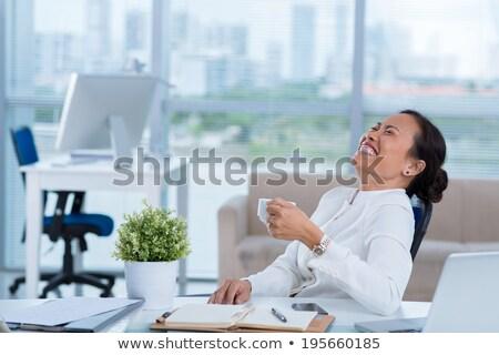 femeie · de · afaceri · râs · afara · tare · portret · alb - imagine de stoc © Giulio_Fornasar