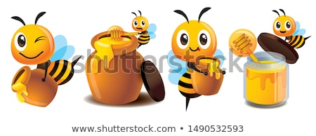 bee flying with pot of honey stock photo © bluering