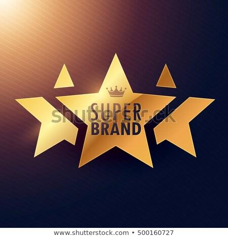 Szuper márka három csillag arany címke Stock fotó © SArts