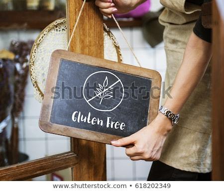 Glutensiz diyet mesaj yeşil kırmızı renkler Stok fotoğraf © Tefi