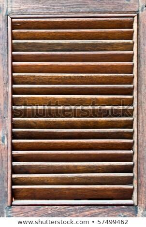 Kék fából készült ablak zsalu narancs homlokzat Stock fotó © smuki