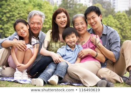 Stock foto: Chinesisch · Familienbild · Familie · entspannenden · Park · Frau