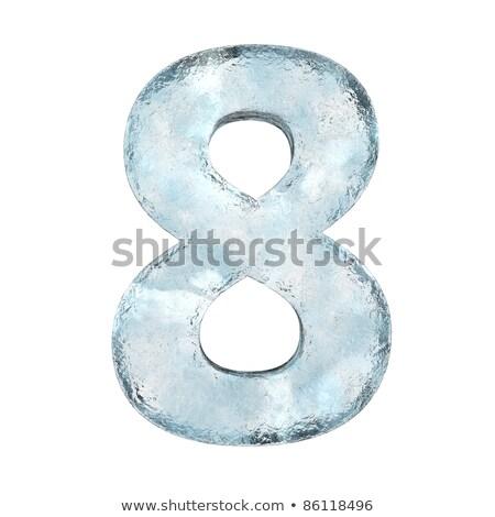 Numero ghiaccio carattere otto congelato alfabeto Foto d'archivio © MaryValery
