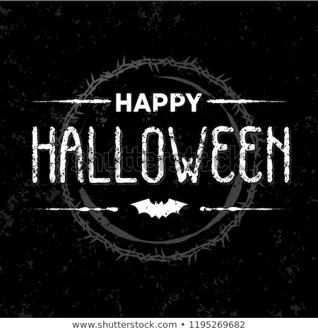 Halloween holiday card design. Spider and 'Happy Halloween' text Stock photo © pashabo