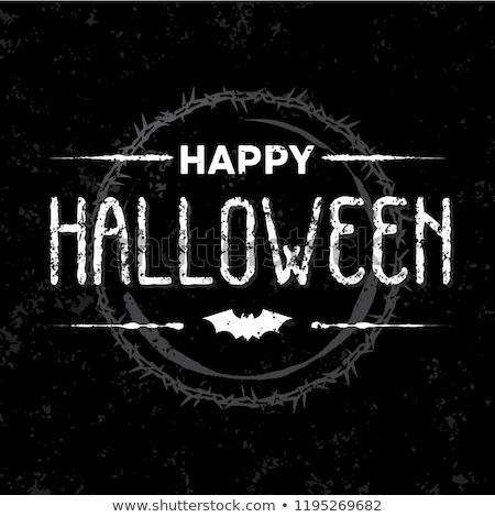 Halloween tatil örümcek mutlu metin Stok fotoğraf © pashabo