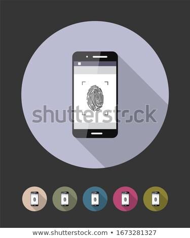 smartphone fingerprint flat raster icon stock photo © ahasoft