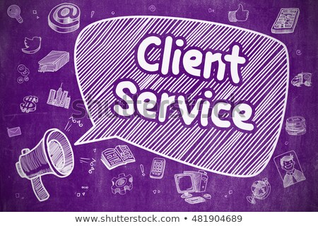 client service   doodle illustration on purple chalkboard stock photo © tashatuvango