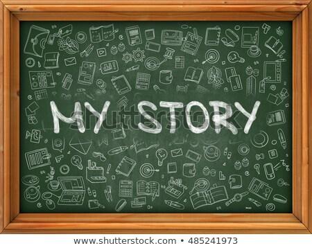 Zöld tábla kézzel rajzolt enyém történet firka Stock fotó © tashatuvango