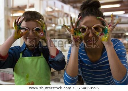 Anya fiú gesztikulál cserépedények műhely boldog Stock fotó © wavebreak_media