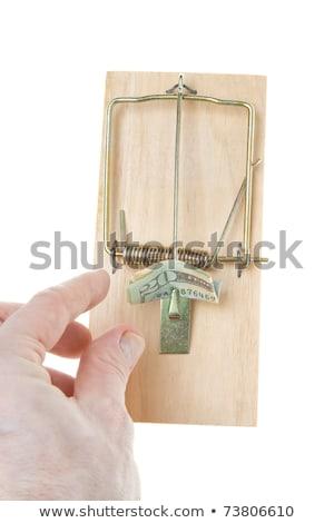 folded 20 twenty dollar bill mousetrap isolated stock photo © qingwa