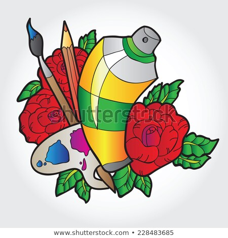 coloring book page palette of paints brush sketch outline and color version coloring for kids c stock photo © lucia_fox