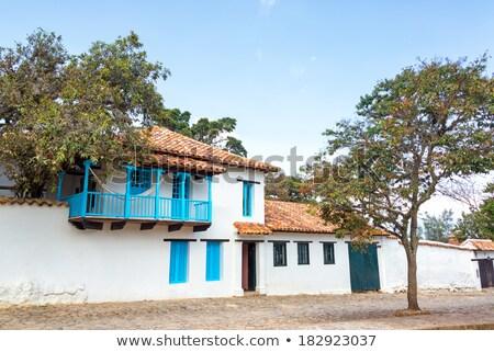 Kolonialny willi Kolumbia architektoniczny szczegóły drewna Zdjęcia stock © Quasarphoto