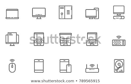 seguridad · línea · icono · nube · bloqueo - foto stock © rastudio