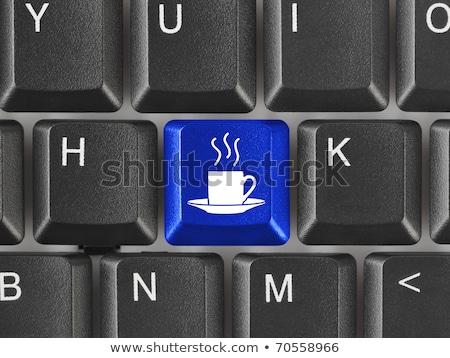 Kék kávészünet gomb billentyűzet kiválasztott fókusz Stock fotó © tashatuvango