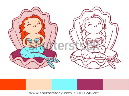 coloring page cute cheerful mermaid in pink shell stock photo © vasilixa