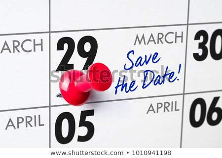 Foto stock: Pared · calendario · rojo · pin · negocios · cumpleanos