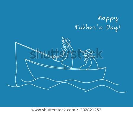 Ilustração pescaria linear estilo ícone silhueta Foto stock © Olena