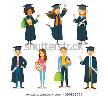 Kız mezuniyet elbise mavi gelecek başarı Stok fotoğraf © IS2