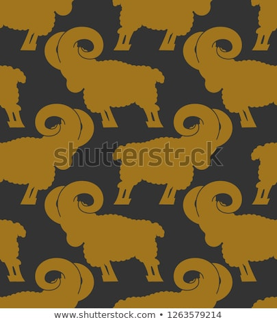 ram pattern. flock of sheep ornament. Farm Animal Background Stock photo © popaukropa