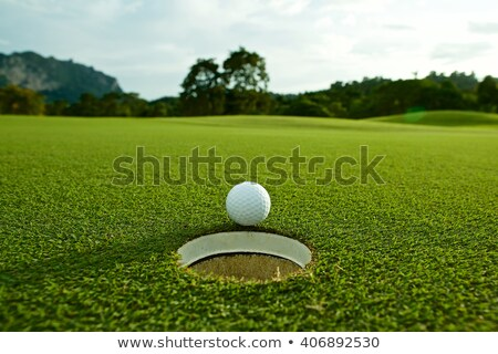 Golf ball near the hole in a grass field Stock photo © alphaspirit